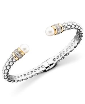 14k Gold & Sterling Silver Cultured Freshwater Pearl Diamond Accent Braid Bangle Bracelet