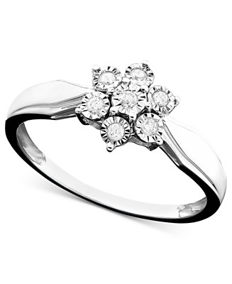 14k White Gold Diamond Flower Ring (1/10 ct. t.w.) - Super Buys - Jewelry & Watches - Macy's from macys.com