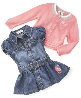 Guess? Baby Girl Denim Dress & Knit Sweater