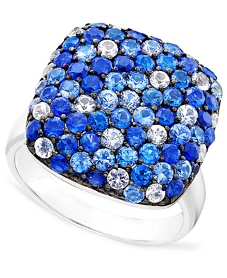 Sterling Silver Shades Of Sapphire (3-5/8 ct. t.w.) Ring - Rings Sapphire - Jewelry & Watches - Macy's