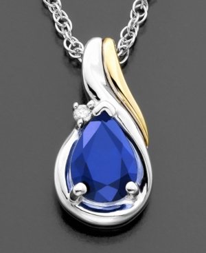 14k Gold & Sterling Silver Sapphire (7/8 ct. t.w.) & Diamond Accent Pendant
