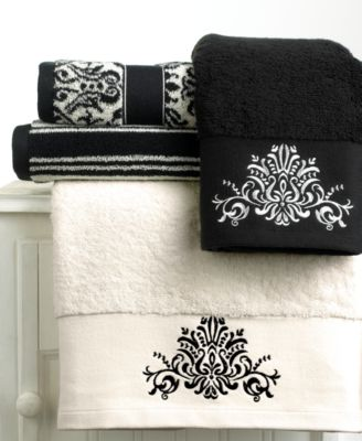 "Bianca ""Black and White"" Bath Towel, 28"" x 52"""