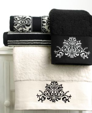 "Bianca """"Black and White"""" Wash Towel, 13"""" x 13"""""
