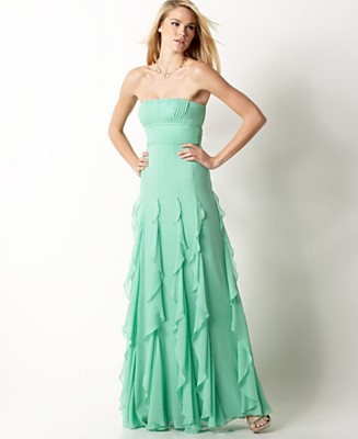 BCBGMAXAZRIA Strapless Draped Silk Gown - Dresses - Women's - Macy's from macys.com