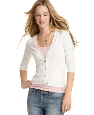 Pink Rose Long-Sleeve Slub Cardigan - Cardigan