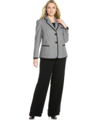 Tahari by ASL Plus Size Grosgrain-Trim Jacket & Pant Suit