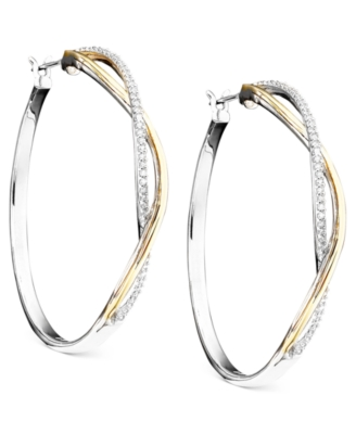 14k Gold & Sterling Silver Diamond Hoop Earrings (1/5 ct. t.w.) - Sterling Hoops