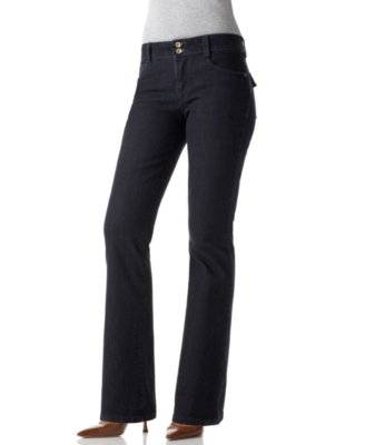 Style&co. Petite Jeans, Flap Pocket Boot Cut, Black Blue Wash