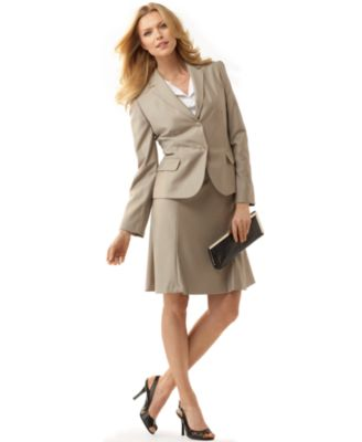 Calvin Klein Taupe Two Button Skirt Suit Skirt Suits Suits Women s