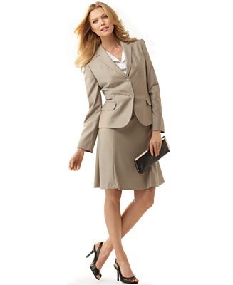 Calvin Klein Taupe Two-Button Skirt Suit - Skirt Suits Suits - Women's - Macy's :  skirt suits skirt taupe lined