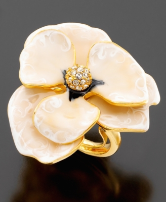 Kenneth Jay Lane Small White Enamel Flower Ring - Decorative Rings