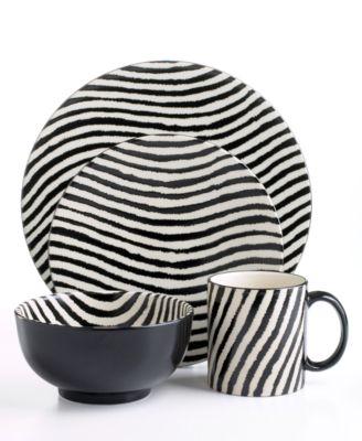 Joseph Abboud  sc 1 st  Stylehive & Joseph Abboud Zebra 16 Piece Dinnerware Set Striped Dinnerware ...
