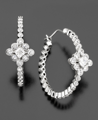CRISLU Sterling Silver Cubic Zirconia Flower Hoop Earrings (1-3/4 ct. t.w.) - Macy's