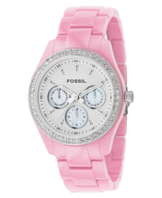 Fossil Watch, Women's Pink Plastic & Stainless Steel Bracelet ES2206