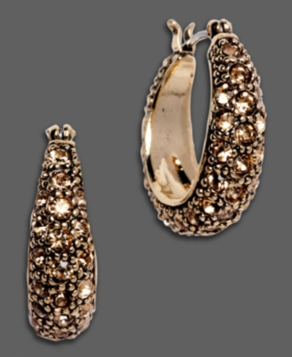 Monet Pave Goldtone Hoop Earrings