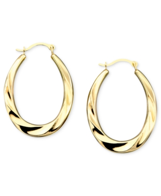 14k Gold Oval Swirl Hoop Earrings