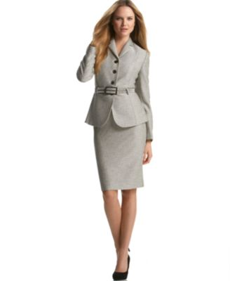 Calvin Klein Belted Skirt Suit