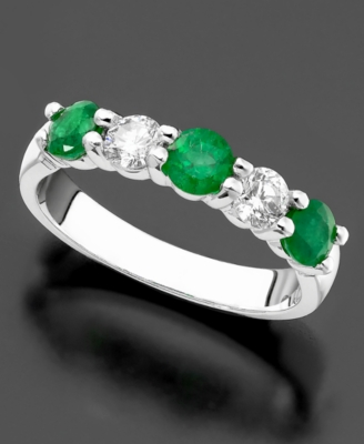 14k White Gold Emerald (2 ct. t.w.) & Diamond (1/3 ct. t.w.) Ring