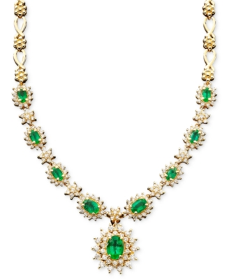 14k Gold Emerald (3-3/8 ct. t.w.) & Diamond (2-1/3 ct. t.w.) Necklace
