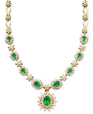 Royalty Inspired by Effy Collection 14k Gold Necklace, Emerald (3-3/8 ct. t.w.) and Diamond (2-1/3 ct. t.w.) Pendant