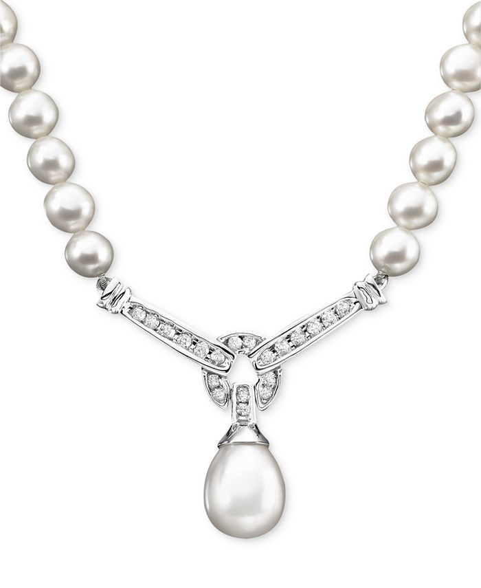 Macy's - 14k White Gold Necklace, Cultured Freshwater Pearl and Diamond (1/3 ct. t.w.) Necklace