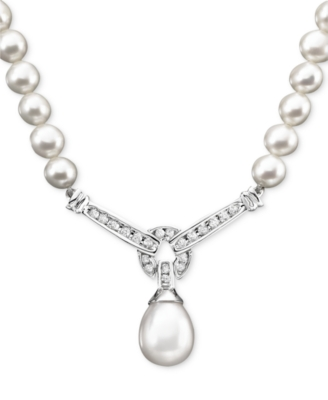 14k White Gold Cultured Freshwater Pearl & Diamond (1/3 ct. t.w.) Necklace