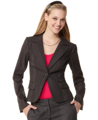 XOXO Jacket, Pinstripe One Button
