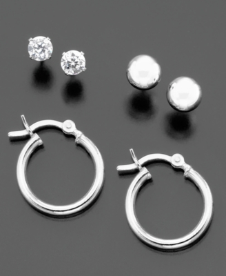 Sterling Silver Cubic Zirconia Stud, Ball and Hoop Earrings Trio
