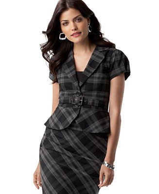 AGB Jacket, Short Sleeve Belted Plaid - Work Blazers Jackets & Blazers - Women's  - Macy's :  skirt carreer agb short sleeve