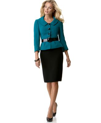 Tahari by ASL Skirt Suit with Side Tab Detail