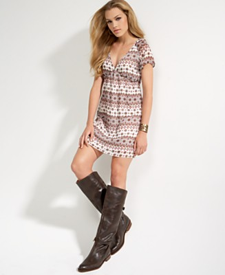 Glam Diamond Mixed Print V-Neck Dress - Casual Dresses Dresses - Women's  - Macy's from macys.com