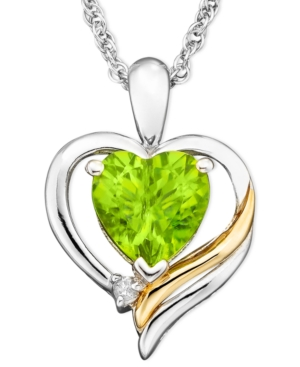 14k Gold and Sterling Silver Pendant, Peridot (1-1/3 ct. t.w.) and Diamond Accent