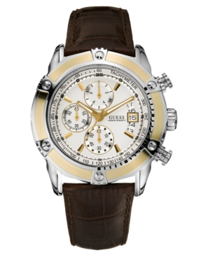 GUESS Watch, Men's Chronograph Brown Leather Strap 47mm U16518G1