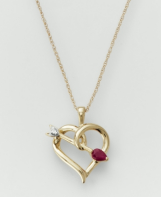 14k Gold Ruby & Diamond Accent Pendant