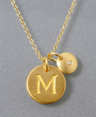 18k Gold Over Sterling Silver Pendant, M Initial