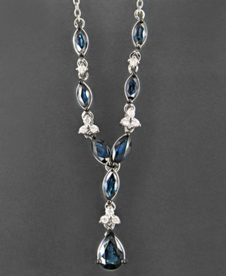 14k White Gold Necklace, Sapphire (2-3/4 ct. t.w.) and Diamond (1/10 ct. t.w.)