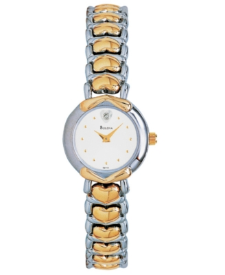 Bulova Watch, Women's Two Tone Bracelet 98P11