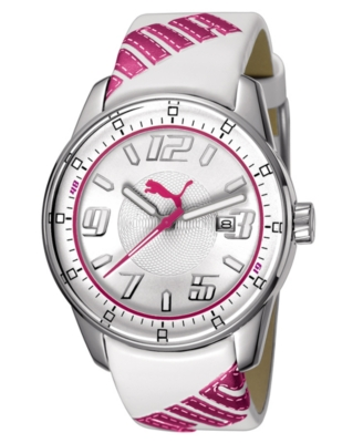 Puma Watch, White and Pink Leather Strap
