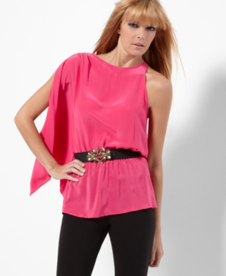 BCBGMAXAZRIA Top, Sleeveless Side Drape Belted