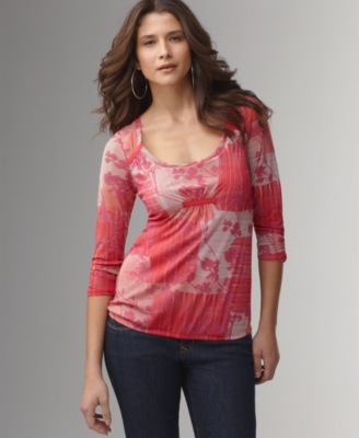 DKNY Jeans Top, Three-Quarter Sleeve Floral Block Print Mesh
