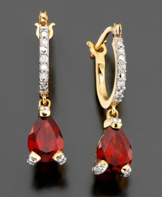 14k Gold Earrings, Garnet (1-1/3 ct. t.w.) and Diamond Accent