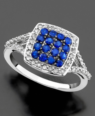 14k White Gold Ring, Sapphire (5/8 ct. t.w.) and Diamond (1/4 ct. t.w.)