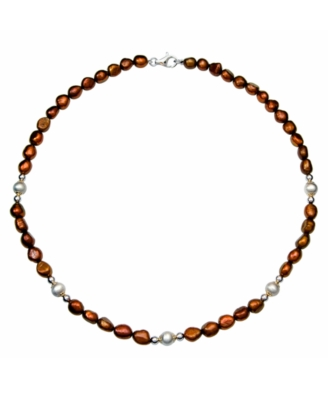 Sterling Silver Pearl Necklace, Chocolate Cultured Freshwater Pearl