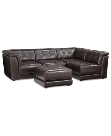 Stacey Leather 5 Piece Modular Sectional Sofa 2 Armless