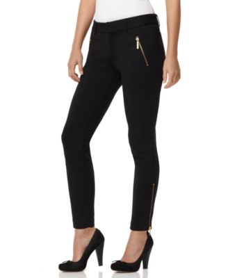 MICHAEL Michael Kors Pants, Ponte Ankle Length with Exposed Zippers