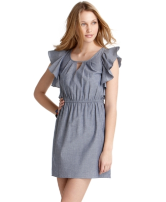 Jump Dress, Chambray Cascade Ruffle