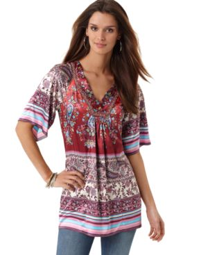 NY Collection Top, V-Neck Kimono Sleeve