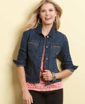 Charter Club Petite Jacket, Denim with Studded Pockets