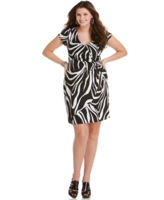 Love Squared Plus Size Dress, Short Sleeve Zebra Print Knot Front