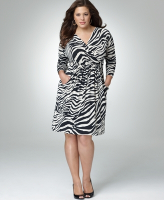 Alfani Plus Size Dress, Three Quarter Sleeve Zebra Print
